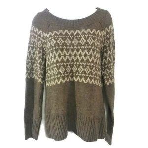Royal Robbins Fair Isle Wool Blend Sweater Brown M